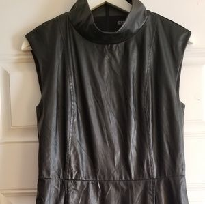 Express faux leather high collar dress. Size 4